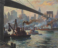 the day's work, east river, new york by edward cucuel