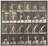 nude man throwing an iron disk, plate 307 by eadweard muybridge