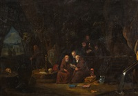 hermits in a grotto by egbert van heemskerck the elder