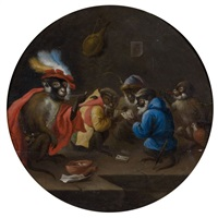 les singes joueurs de cartes et les singes barbiers (pair) by abraham teniers