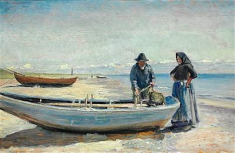 a fisherman and his wife on skagen sønderstrand in the background the lighthouse by michael peter ancher
