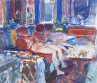 two nudes, interior by morton kaish