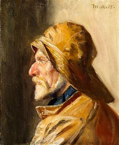 a fisherman from skagen in profile by michael peter ancher