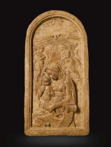 relief with the virgin and child enthroned with angels and the holy spirit by donatello