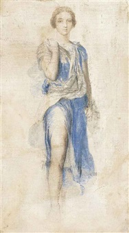 study for the figure of diana in the fresco apollo and diana by george frederick watts
