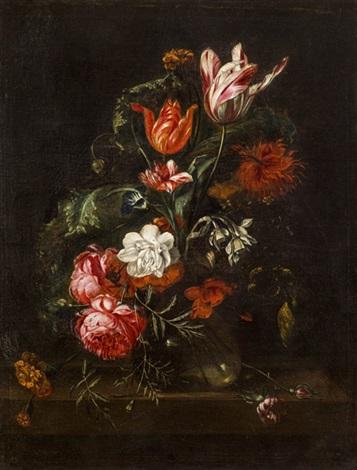 blumenstrauß mit tulpen und rosen in einer glasvase by simon pietersz verelst