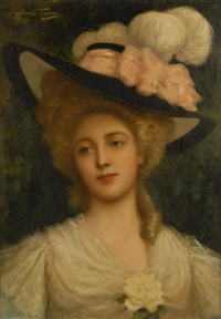 portrait of a lady with a wide brim hat by antonio torres