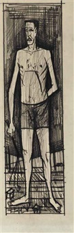 man standing by bernard buffet
