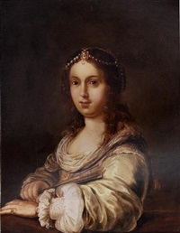 portrait of a young lady with a pearl headdress and holding a fan by johann spilberg the younger