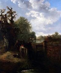boy with dog fishing by lock gates by edward robert smythe