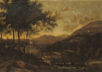 a wooded river landscape with a peasant woman and a dog on a track by arien ocker