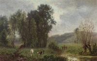 paisaje con vacas by alexandre-charles-joseph gittard