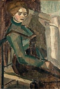 portrait de maroussia, femme du peintre by henri le fauconnier