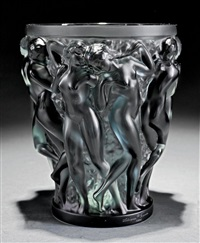 bacchantes molded grey crystal vase by rené lalique