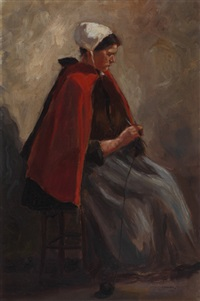woman from scheveningen (+ 2 others, smllr; 3 works) by johan hendrik kaemmerer