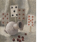 still life of playing cards, red cherries and egyptian marble vase by john armstrong