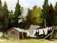 washing day at the mastigouche club, quebec by fritz b. talbot