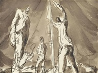 figures in a tent, codford by keith vaughan