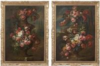 guirlande de fleurs s'enroulant autour d'une urne de terre cuite (2 works) by gaspar pieter verbruggen the younger