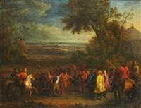rencontre des échevins de valenciennes et du marquis de louvois à saint-waast-là-haut après la prise de la ville par les troupes de louis xiv le 17 mars by sauveur le conte
