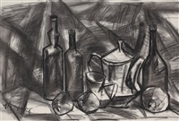 jugs, bottles and fruits - i by k.m. adimoolam