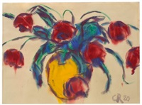 rote tulpen in gelber vase by christian rohlfs