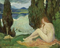 landscape with a seated female nude by arthur bowen davies