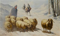shepherds tending sheep by vasilis germenis