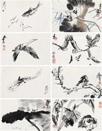 写生册 册页 (八开) 水墨纸本 (album of flowers and birds) (album of 8) by huang zhou