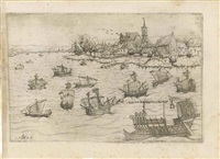 jonah and the whale on a lake with sailing vessels by augustin hirschvogel
