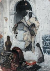 homme arabe près de la porte voûtée by ludwig deutsch