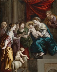 die heilige familie mit dem johannesknaben und heiligen by french school (17)