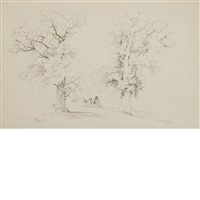 two chestnut trees with figures and horse by david johnson