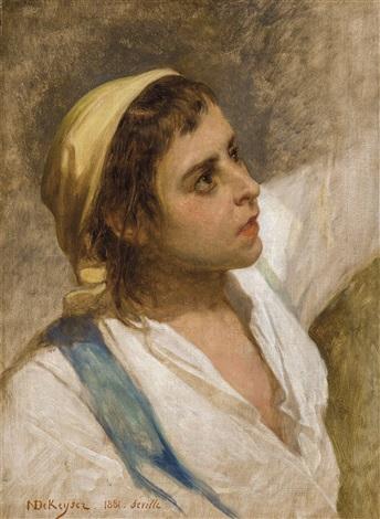 jeune garçon espagnol study for le cortège du vendredi saint à seville by nicaise de keyser