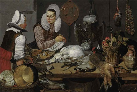 a kitchen interior with a maid and a lady preparing game by frans hals the elder