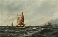 costal scenery with ships by emile valentin