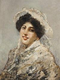 ritratto di giovane donna in bianco by salvatore postiglione