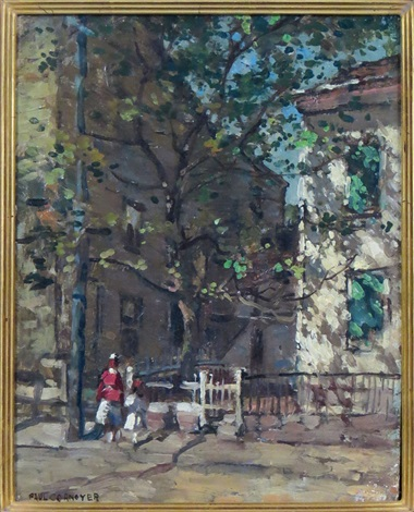 rockport street with people by paul cornoyer