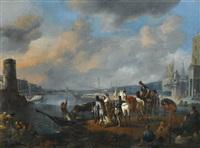 elégantes et cavaliers dans un port méditerranéen by johannes lingelbach