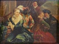 maskerad - interiör med commedia dell'arte-figurer by jean antoine watteau