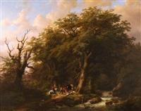 bebost rivierlandschap met ruiter en herder bij brug by johan b. klombeck & eugene j. verboeckhoven
