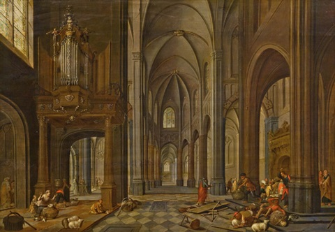 kircheninterieur mit staffage tempelreinigung by peeter neeffs the elder