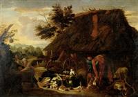 gårdsexteriör med figurer och grönsaker by jan wildens
