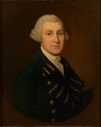 portrait of nathaniel burrough, in a dark blue naval jacket with golden buttons, in a painted oval by gainsborough dupont