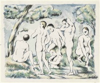 les baigneurs (small plate) by paul cézanne