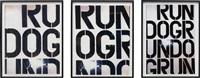 run dog run (set of 3) by christopher wool