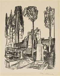 p.a. munch's tombstone in rome by edvard munch