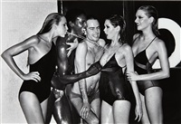 jerry hall, spitting, french vogue, paris by helmut newton