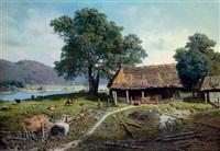 a riverside farm by mikhail petrovich (baron) klodt von jurgensburg