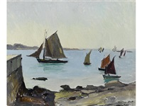 sailboats on an estuary by millard sheets